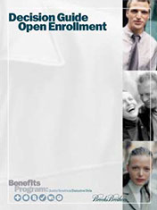 Benefits open enrollment print campaign for a clothing retailer.