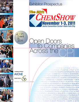 Exhibitor prospectus for a national chemical process show: cover and sample spreads