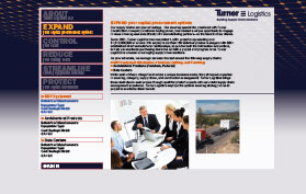 Web communications for supply-chain-management services (screen captures of site under construction).
