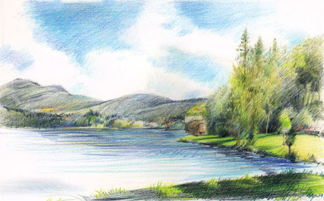 Colored pencil drawing: Pontoosuc Lake, Pittsfield, Masschusetts.