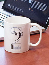 Branding for acoustical consulting and services: stationery: coffee mug