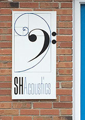 Branding for acoustical consulting and services: stationery: outdoor sign