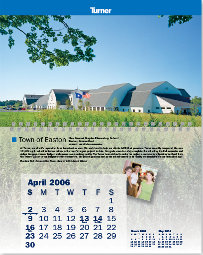 Promotional yearly calendar for Turner Construction Company.